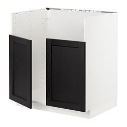 METOD - Base cab f BREDSJÖN dbl bowl sink, white/Lerhyttan black stained