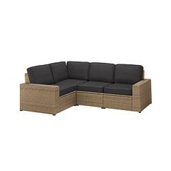 SOLLERÖN - Sofa sdt 3 ddkn mdlr, luar ruangan, cokelat/Järpön/Duvholmen antrasit