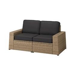 SOLLERÖN - Sofa mdlr dua dudukan, luar ruangan, cokelat/Järpön/Duvholmen antrasit