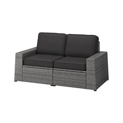 SOLLERÖN - Sofa mdlr dua dudukan, luar ruangan, abu-abu tua/Järpön/Duvholmen antrasit