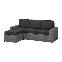 SOLLERÖN - Sofa mdlr tiga ddkan, luar ruangan, dengan bangku kaki abu-abu tua/Järpön/Duvholmen antrasit