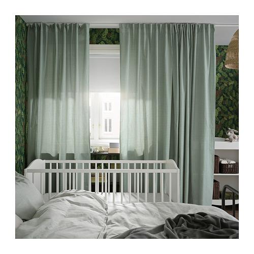 ORDENSFLY - curtains, 1 pair, white/green, 145x250 cm   IKEA Indonesia - PH168386_S4