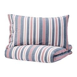 SMALSTÄKRA - Sarung quilt dan 2 sarung bantal, biru/merah/garis-garis