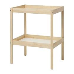 SNIGLAR - Meja ganti popok bayi, kayu birch/putih