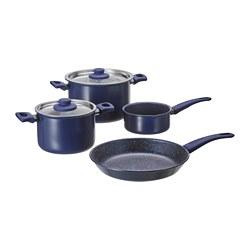 HEMLAGAD - Set 6 unit peralatan memasak, biru