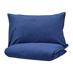 ÄNGSLILJA - Sarung quilt dan 2 sarung bantal, biru tua