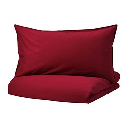 ÄNGSLILJA - Sarung quilt dan 4 sarung bantal, merah