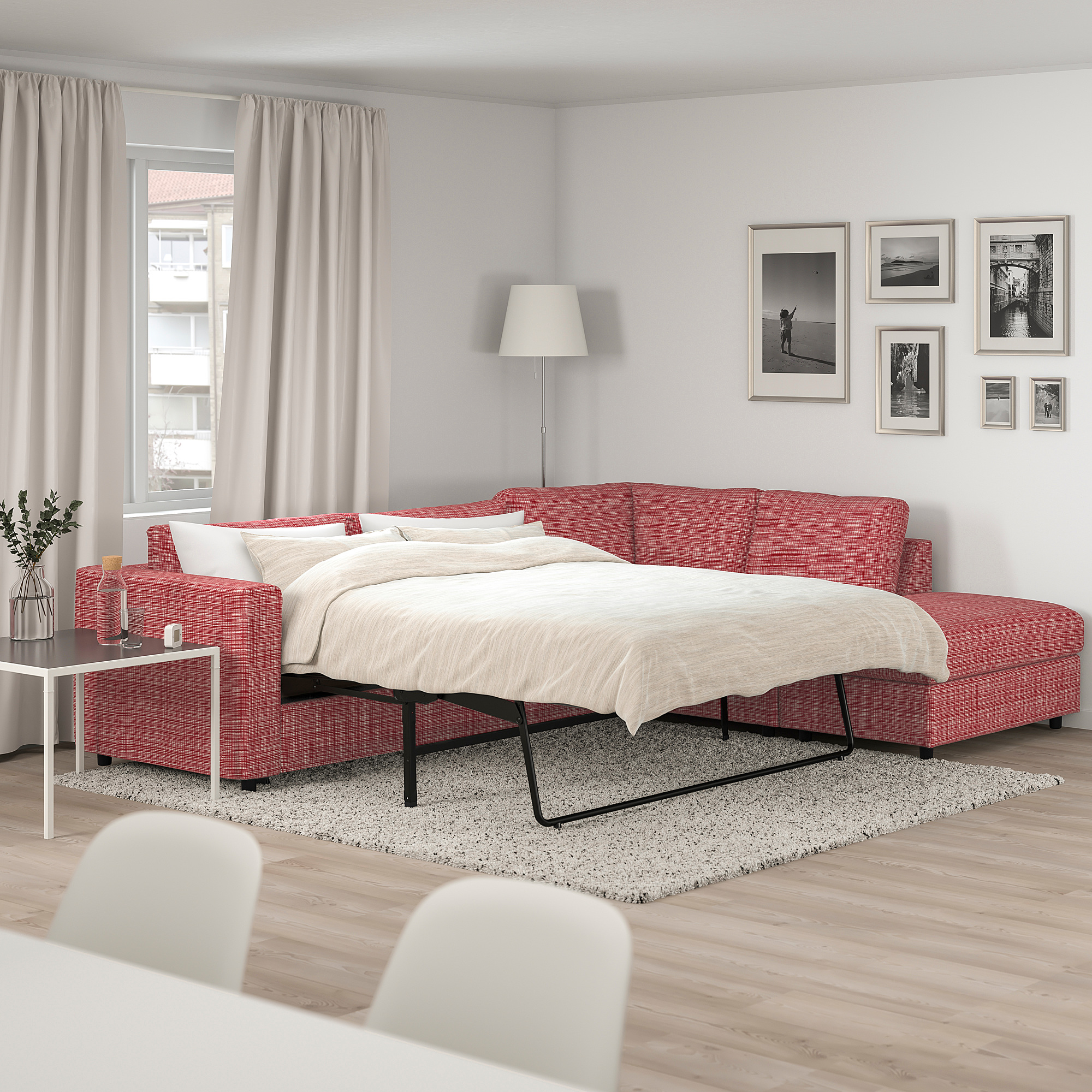 VIMLE corner sofa bed, 4 seat, with open end/Dalstorp ...