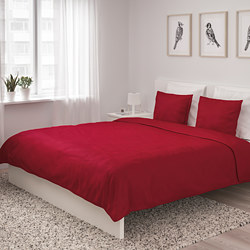ÄNGSLILJA - Quilt cover and 4 pillowcases, red