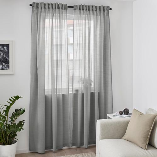 HILJA - curtains, 1 pair, grey, 145x250 cm | IKEA Indonesia - PE671128_S4