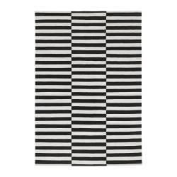 STOCKHOLM - Karpet, anyaman datar, buatan tangan/garis-garis hitam/putih pudar