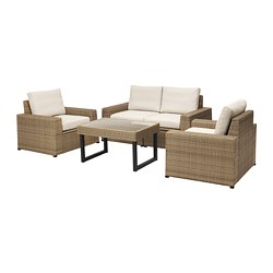 SOLLERÖN - 4-seat conversation set, outdoor, brown/Frösön/Duvholmen beige