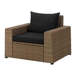 SOLLERÖN - Armchair, outdoor, brown/Hållö black