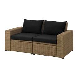 SOLLERÖN - 2-seat modular sofa, outdoor, brown/Hållö black