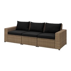 SOLLERÖN - 3-seat modular sofa, outdoor, brown/Hållö black