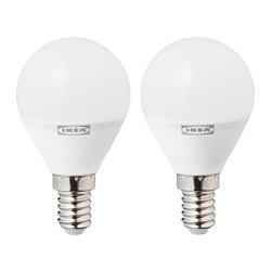 RYET - Bohlam LED E14 470 lumen, bulat putih opal
