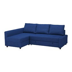 FRIHETEN - Corner sofa-bed with storage, Skiftebo blue