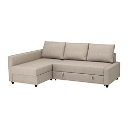 FRIHETEN - Corner sofa-bed with storage, Hyllie beige