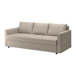 FRIHETEN - Sofa tempat tidur 3 dudukan, Hyllie krem