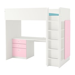 FRITIDS/STUVA - Loft bed combo w 3 drawers/2 doors, white/light pink