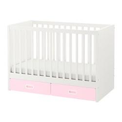 FRITIDS/STUVA - Ranjang bayi dengan laci, merah muda terang