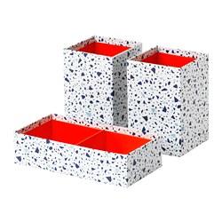 MÖJLIGHET - Kotak, set isi 3, merah/pola mosaik