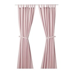 LENDA - Curtains with tie-backs, 1 pair, light pink