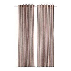 BERGSKRABBA - Curtains, 1 pair, grey/red striped