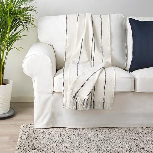 STINAMAJ - throw, white/dark grey, 130x170 cm | IKEA Indonesia - PE714713_S4