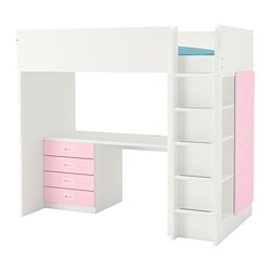 FRITIDS/STUVA - Loft bed combo w 4 drawers/2 doors, white/light pink
