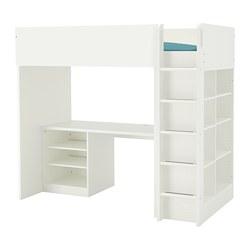 STUVA - Loft bed combo w 2 shlvs/3 shlvs, white