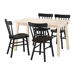 NORRARYD/NORRÅKER - Meja dan 4 kursi, putih kayu birch/hitam