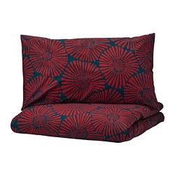 STJÄRNTULPAN - Sarung quilt dan 2 sarung bantal, biru tua/merah