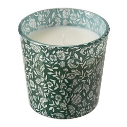MEDKÄMPE - Scented candle in glass, Sweet vanilla/green
