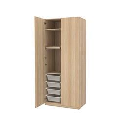 PAX/FORSAND - Kombinasi lemari pakaian, efek kayu oak diwarnai putih