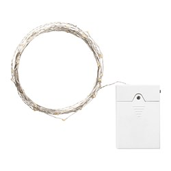 VISSVASS - LED lighting chain with 80 lights, indoor/battery-operated silver-colour