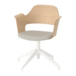 FJÄLLBERGET - Conference chair, white stained oak veneer/Gunnared beige