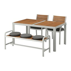 SJÄLLAND - Meja+2 kursi+bangku, luar rg, cokelat muda/Frösön/Duvholmen abu-abu tua
