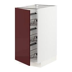 METOD - METOD, kabinet dasar dg keranjang kawat, putih Kallarp/high-gloss merah tua-cokelat, 40x60x80 cm