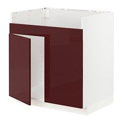 METOD - Base cab f HAVSEN double bowl sink, white Kallarp/high-gloss dark red-brown