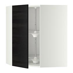 METOD - Kabinet dinding sudut dg karosel, putih/Tingsryd hitam