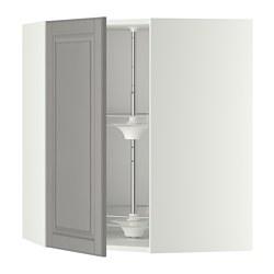 METOD - Kabinet dinding sudut dg karosel, putih/Bodbyn abu-abu