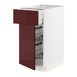 METOD/MAXIMERA - Kab dsr dg krnjg kawat/laci/pintu, putih Kallarp/high-gloss cokelat kemerahan tua