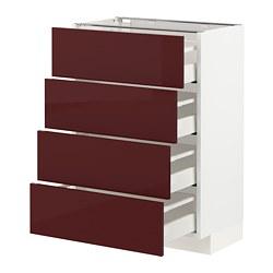 METOD/MAXIMERA - Base cab 4 frnts/4 drawers, white Kallarp/high-gloss dark red-brown