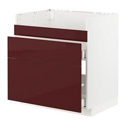 METOD/MAXIMERA - Dsr wstfl HAVSEN/3 pintu/2 laci, putih Kallarp/high-gloss cokelat kemerahan tua