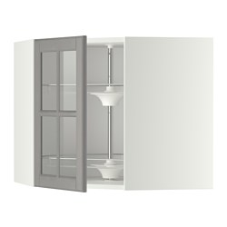 METOD - Corner wall cab w carousel/glass dr, white/Bodbyn grey