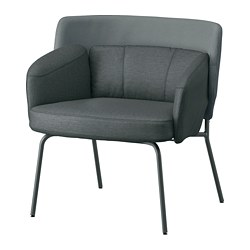 BINGSTA - Armchair, Vissle dark grey/Kabusa dark grey