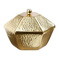 LJUVARE - Mangkuk saji dengan penutup, warna emas, 25 cm