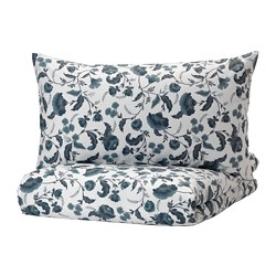 KÄLLFRÄNE - Quilt cover and 2 pillowcases, white/blue