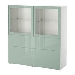 BESTÅ - Kombinasi penyimpanan dg pintu kaca, putih Selsviken/high-gloss/light hijau-keabu-abuan kaca bening